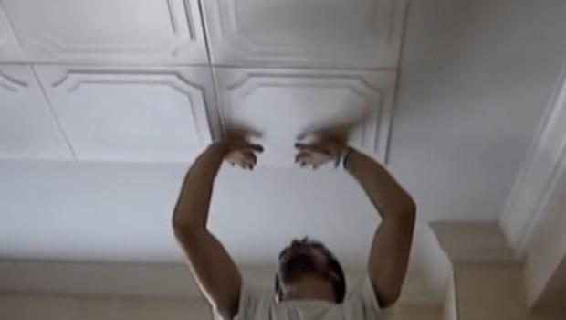 Styrofoam Ceiling Tile Installation