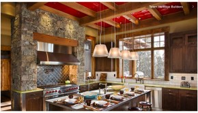 Kitchen with Red Ceilings, Red Ceiling Decoration