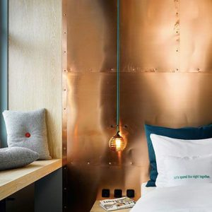 Copper Wall Tiles as Headboard (Falling for Copper Ceiling Tiles)