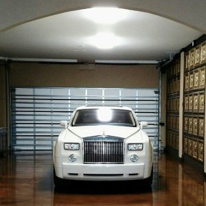 La Scala Faux Tin Ceiling Tile on Garage Walls with Rolls Royce