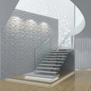 3D Wall Panels - Bamboo Pulp 79 White Modern Stairwell