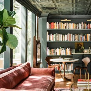 Stunning Tin Tile Ceilings in Joanna Gaines' Library